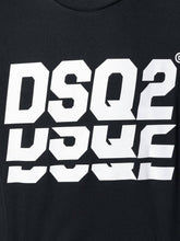 Load image into Gallery viewer, DSQUARED2 DSQ2 REPEAT WHITE LOGO TEE IN BLACK