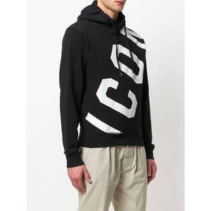 DSQUARED2 DIAGONAL ICON HOODIE IN BLACK