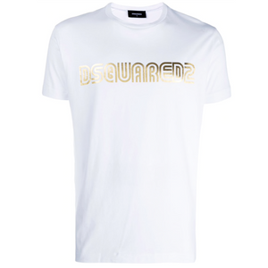DSQUARED2 GOLD LOGO TEE IN WHITE