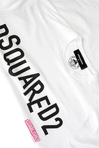 DSQUARED2 JUMBLED LOGO TEE IN WHITE