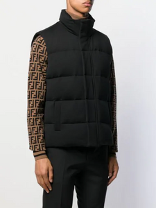 FENDI BACK LOGO GILET IN BLACK