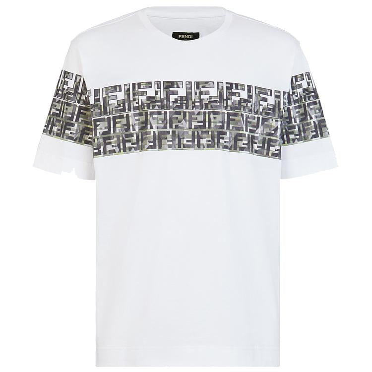 FENDI CHEST FF MOTIF TEE IN WHITE