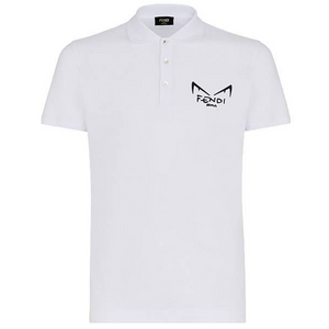 FENDI EYES LOGO POLO IN WHITE