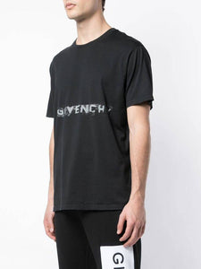 GIVENCHY MARKED LOGO TEE IN BLACK