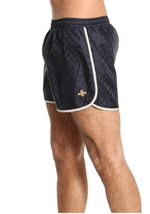 GUCCI GG BEE SWIM SHORTS IN NAVY