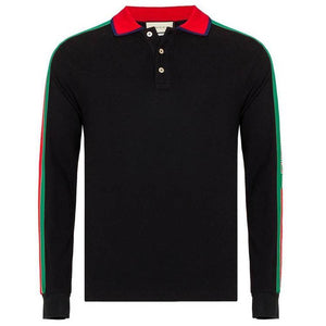 GUCCI TAPE LONG SLEEVE POLO IN BLACK