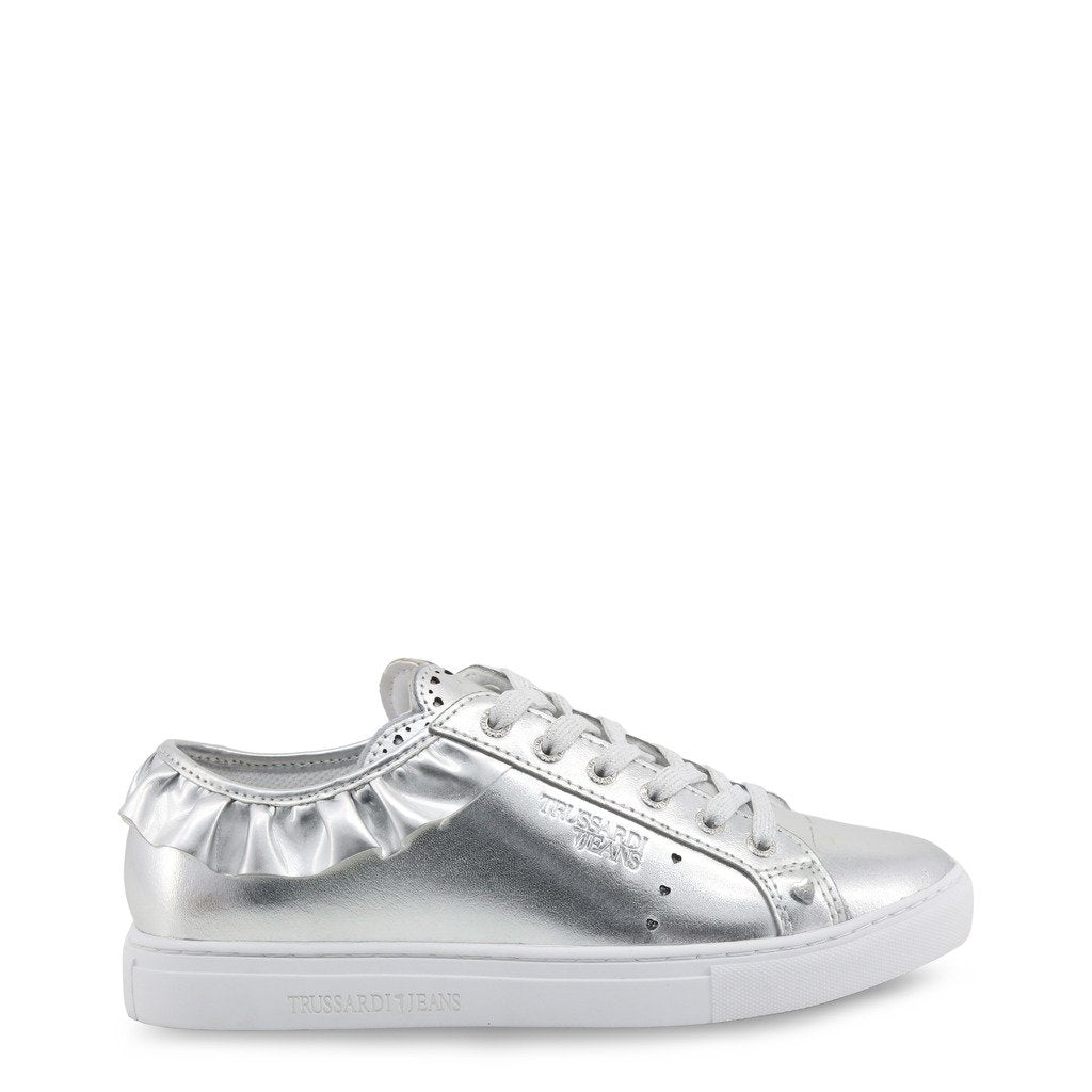 Silver Synthetic Leather Sneakers