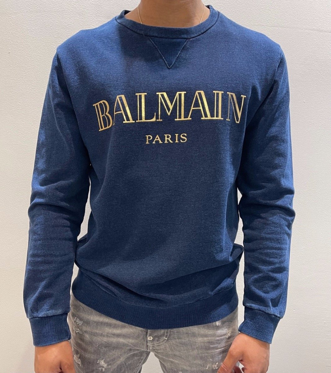 BALMAIN NAVY-GOLD SWEATER