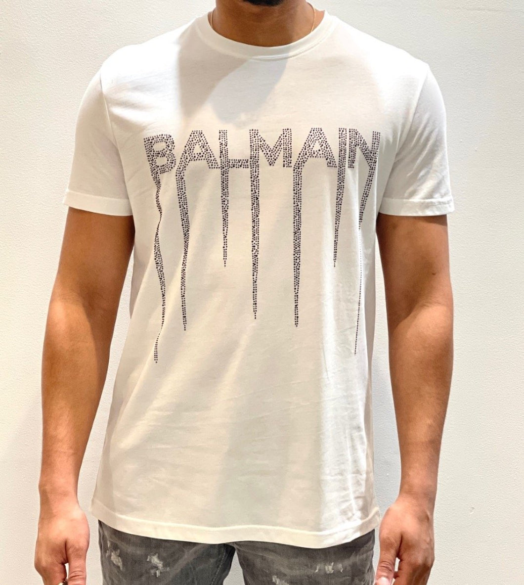 BALMAIN WHITE- BLACK EMBELLISHMENT TEE