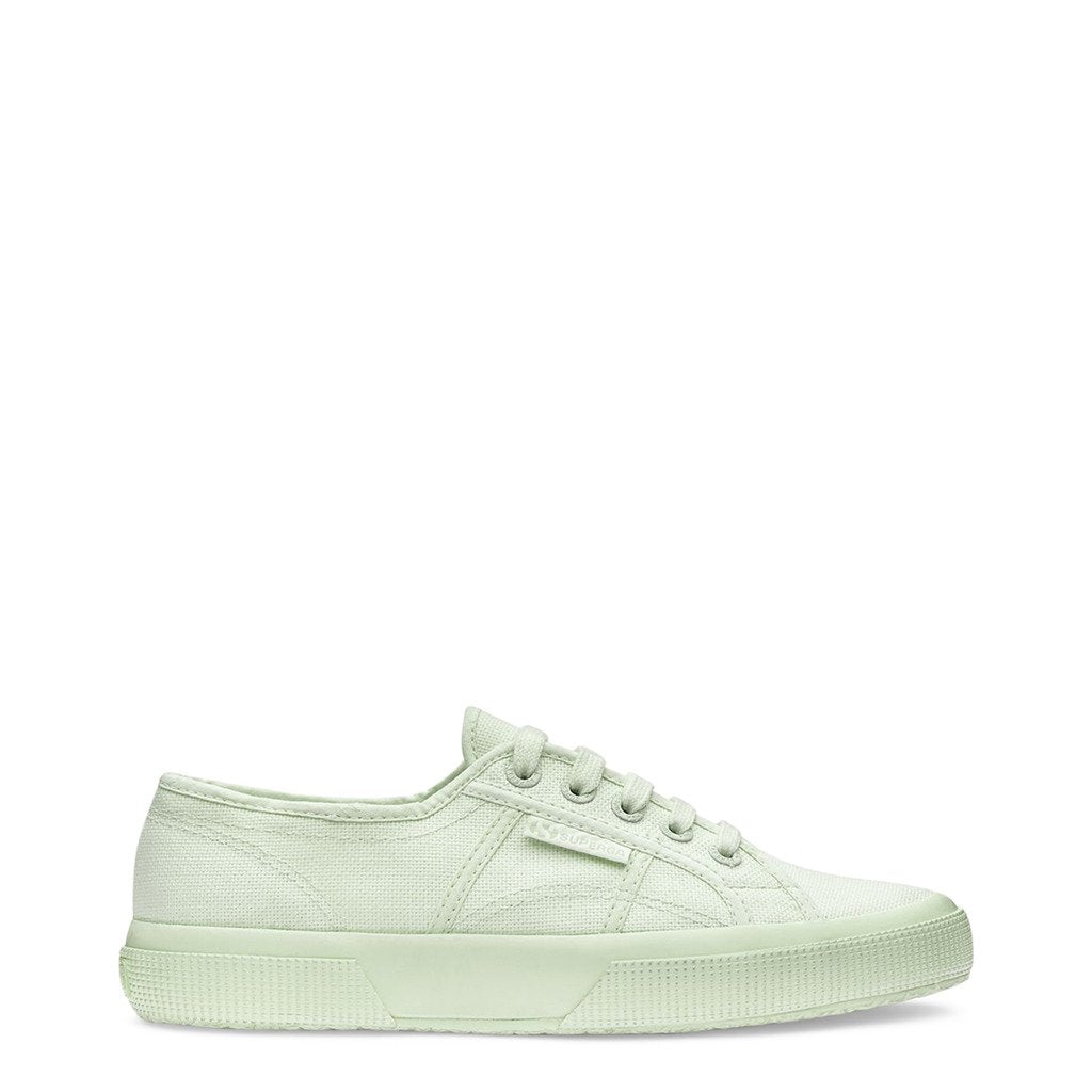 White Fabric Sneakers with Round Toe and Metal Eyelet