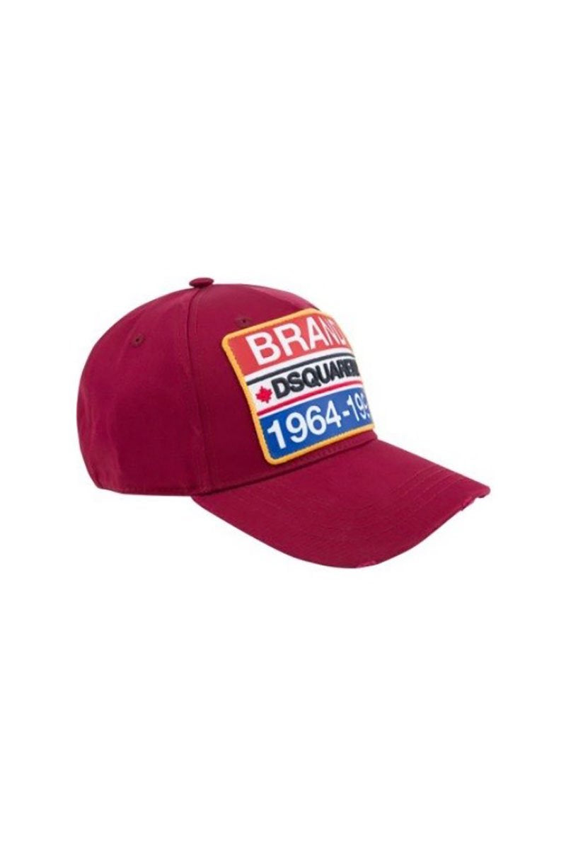 DSQUARED2 BRAND CAP IN BURGUNDY