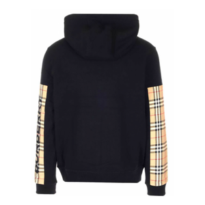 BURBERRY LOGO PRINT VINTAGE CHECK PANEL COTTON HOODED JACKET IN BLACK