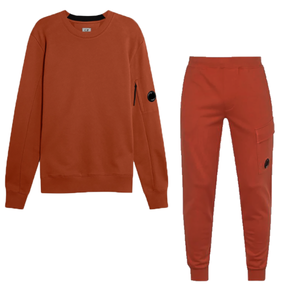 CP COMPANY DIAGONAL RAISED FLEECE TRACKSUIT IN POMPEIN RED