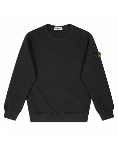 STONE ISLAND JUNIOR CREW NECK SWEATER IN BLACK