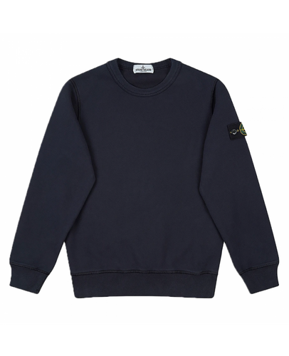 STONE ISLAND JUNIOR CREW NECK SWEATER IN NAVY