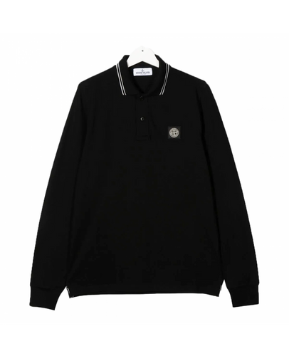 STONE ISLAND JUNIOR LONG SLEEVE POLO IN BLACK
