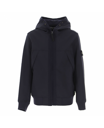 STONE ISLAND JUNIOR SOFT SHELL-R JACKET IN NAVY BLUE