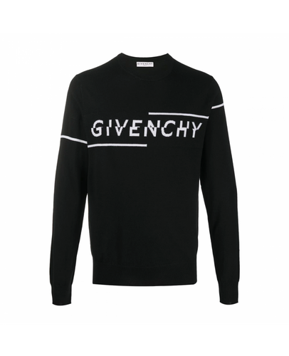 GIVENCHY BLACK SPLIT SWEATER IN JERSEY
