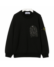Load image into Gallery viewer, STONE ISLAND JUNIOR ONE POCKET CREWNECK SWEATER IN BLACK