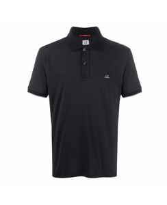CP COMPANY POLO SHIRT  WITH LOGO-BLACK