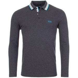 Hugo Boss-LONG SLEEVE POLO SHIRT GREY / BLUE