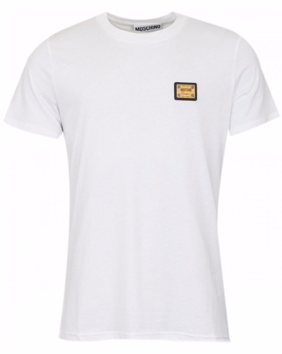 MOSCHINO COUTURE - ROUND NECK T-SHIRT W METAL BADGE - WHITE