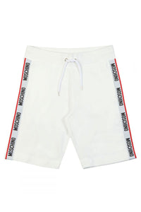 MOSCHINO SIDE TAPE SHORTS IN WHITE