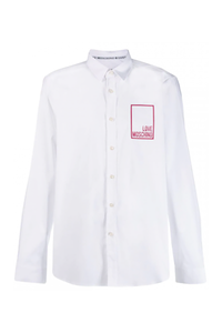LOVE MOSCHINO LOGO LONG SLEEVE SHIRT-WHITE