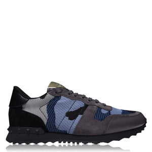 VALENTINO ROCKRUNNER BLUE CAMOUFLAGE TRAINERS