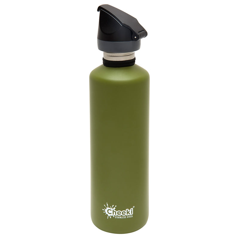 CHEEKI Stainless Steel Bottle Khaki - Sports Lid - 750ml