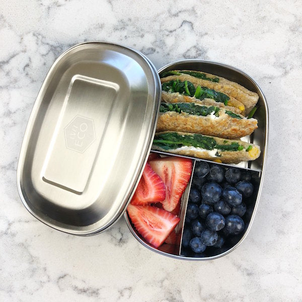 EVER ECO Stainless Steel Bento Snack Box  3 Compartments 580ml