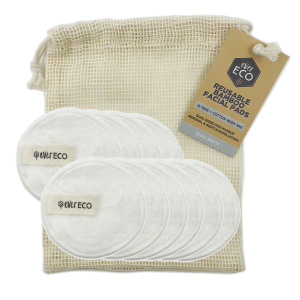 EVER ECO Reusable Bamboo Facial Pads White With Cotton Wash Bag 10