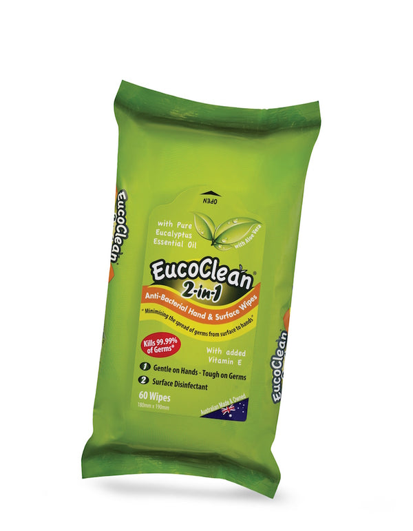 EUCOCLEAN Anti-Bacterial Wipes 2-in-1 Hand & Surface With Vitamin E