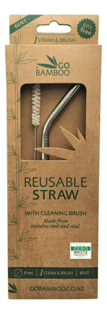 GO BAMBOO Stainless Steel Straw With Sisal Cleaning Brush