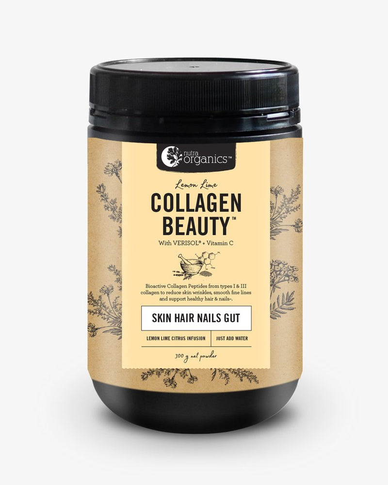 Nutra Organics Collagen Beauty with Verisol + Vitamin C (Skin Hair Nails Gut) Lemon Lime 300g