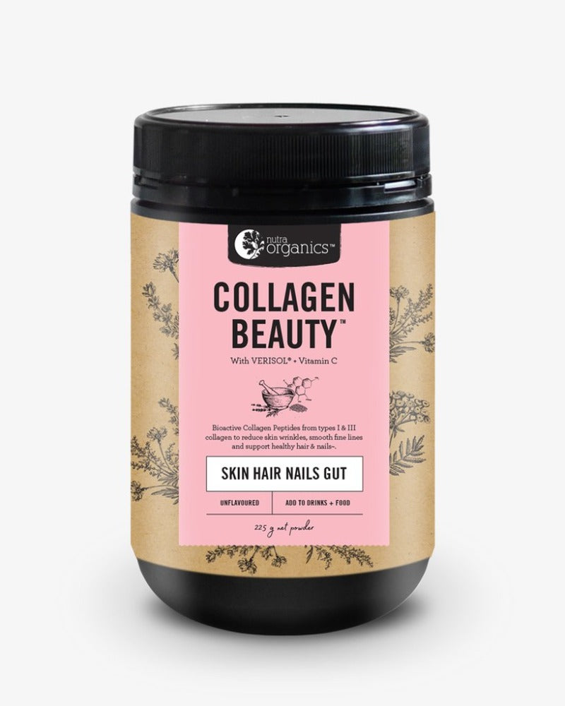 Nutra Organics Collagen Beauty with Verisol + Vitamin C (Skin Hair Nails Gut) Unflavoured 225g