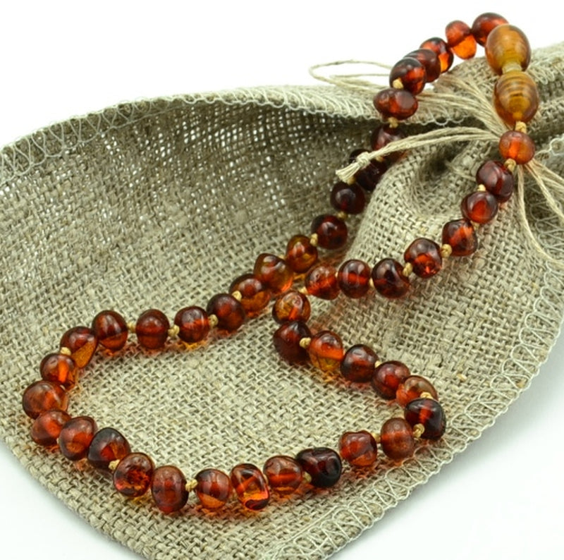 AMBER LOVE Children's Necklace 100% Baltic Amber - Cognac Love 33cm