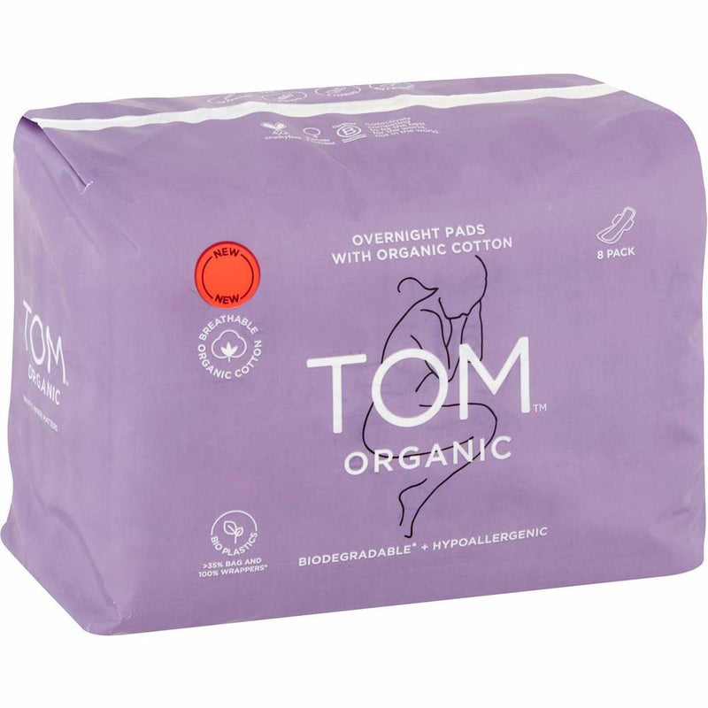 TOM Organic Overnight Pads 8 pack