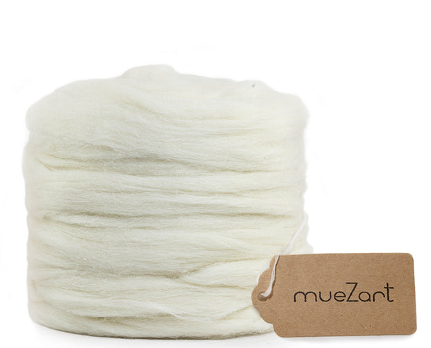 Erino tops long roving fiber for blending, felting, paper making, soap making. A blend of Eri silk and Merino roving fiber | Muezart
