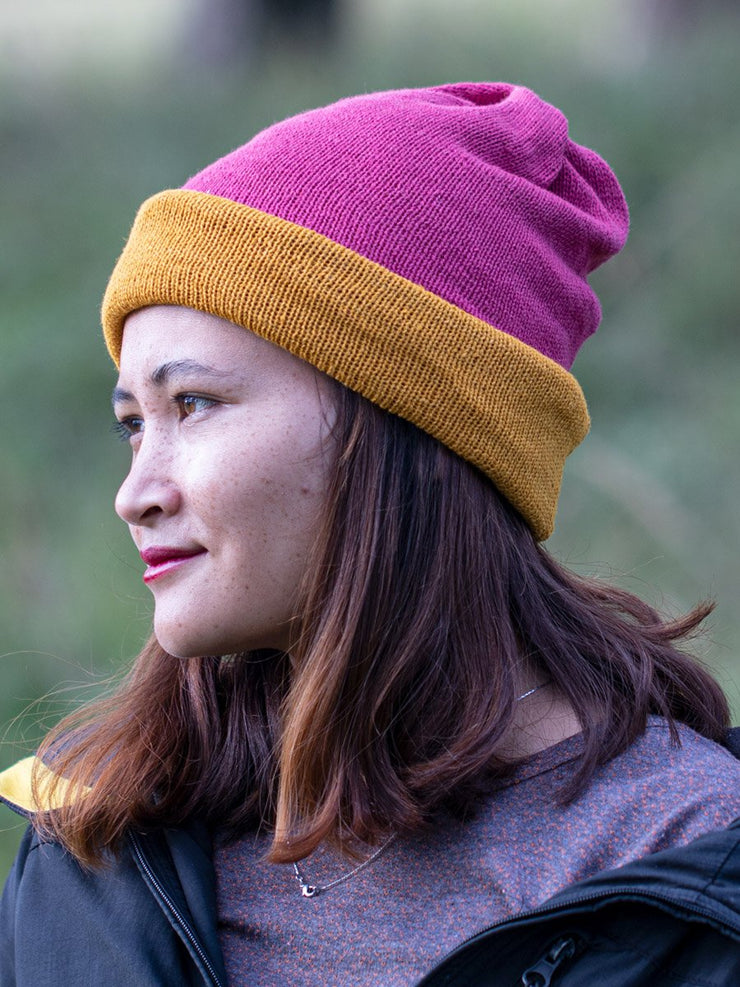 Sunglow yellow and Azalea Pink Multi-functional Reversible Beanie | Muezart