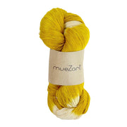 eri silk yarn | natural dyed sunglow yellow tie dye | sustainable yarn | vegan yarn | eri silk erandi silk errandi | Muezart