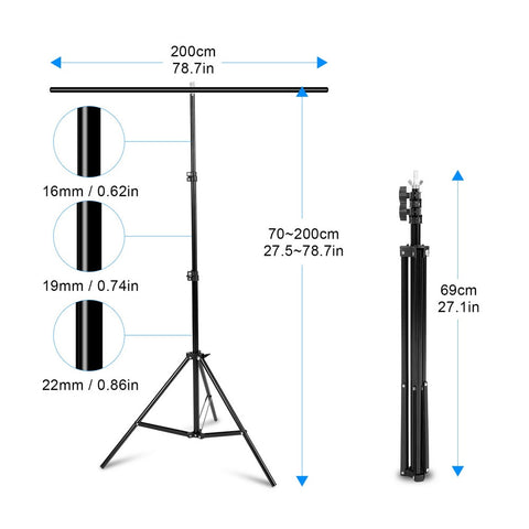 Professional T-Shape Background Frame Support System Stands With Clamps