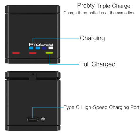Original probtyx for GoPro Hero 7 herox 6 hero 5 Black Batteries or Triple Charger for GoPro Hero7 Black Battery Accessories