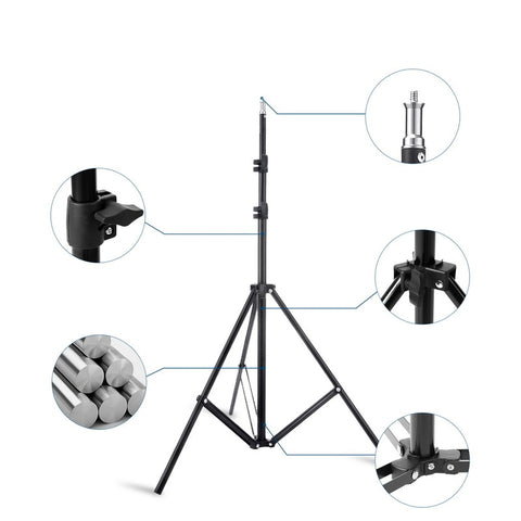 Photo Studio Double Arms Fill Selfie Ring light with 200cm Tripod Long LED Strips add Stand 3000K-600K LED For Camera