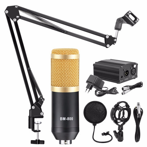 Condenser Microphone Bundle, 8-in-1 Cardioid Condenser Microphone Kit for Studio Recording and Brocasting