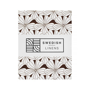 Swedish Linens hoeslaken Flowers - Dark Chocolate - 60x120cm