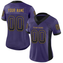 Load image into Gallery viewer, Custom Purple Black-Old Gold Mesh Drift Fashion Football Jersey