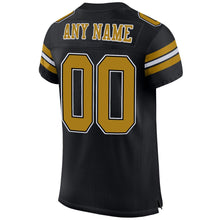 Load image into Gallery viewer, Custom Black Old Gold-White Mesh Authentic Football Jersey