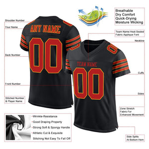 Custom Black Scarlet-Gold Mesh Authentic Football Jersey