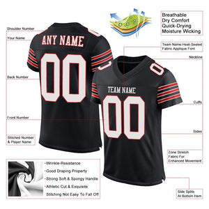 Custom Black White-Scarlet Mesh Authentic Football Jersey